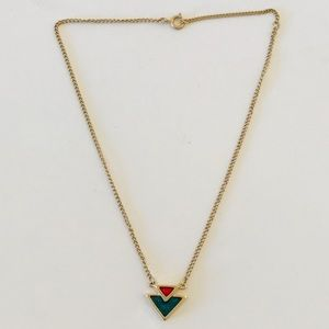 Sara Coventry Gold Tone Necklace Green Red Pendant